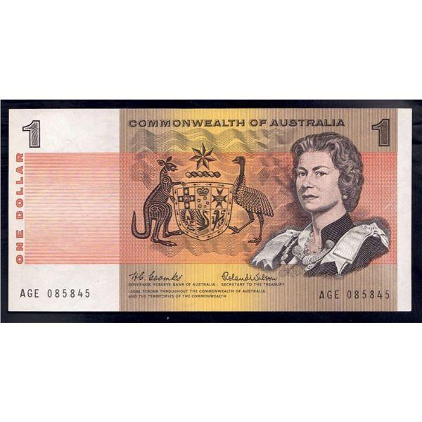 "AUSTRALIA $1. 1966. Coombs-Wilson. RARE LAST PREFIX ""AGE"""