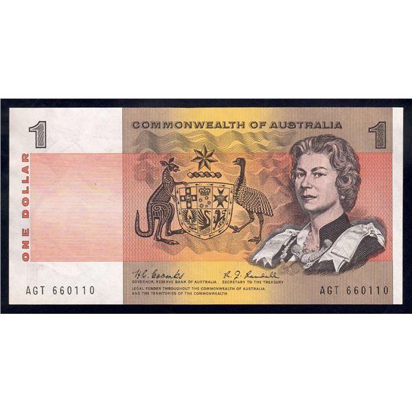 "AUSTRALIA $1. 1968. Coombs-Randall. SCARCEST SIGNATURE. Nice Serial ""660110"""