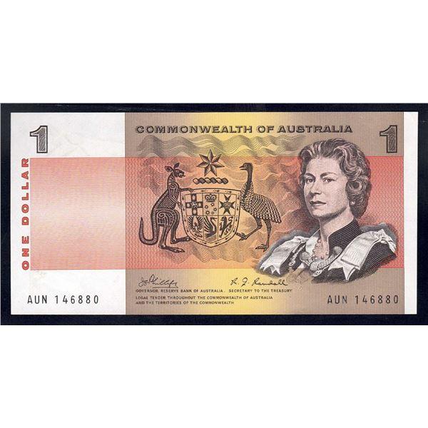 AUSTRALIA $1. 1969. Phillips-Randall. QEII PORTRAIT