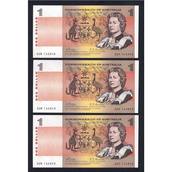AUSTRALIA $1. 1969. Phillips-Randall. CONSECUTIVE TRIO