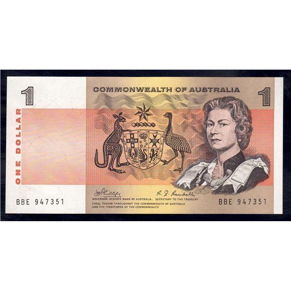"""AUSTRALIA $1. 1969. Phillips-Randall. RARE LAST PREFIX """"BBE"""""""