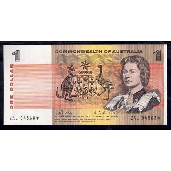 "AUSTRALIA $1. 1969. Phillips-Randall. RARE STAR* REPLACEMENT Prefix ""ZAL"""