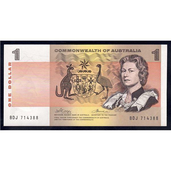 "AUSTRALIA $1. 1972. Phillips-Wheeler. LAST ""COMMONWEALTH"" TITLE"