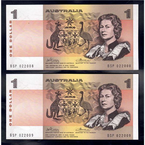 AUSTRALIA $1. 1974. Phillips-Wheeler. CONSECUTIVE PAIR