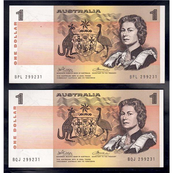 AUSTRALIA $1. 1974. Phillips-Wheeler. IDENTICAL SERIAL NO PAIR - Different Prefixes