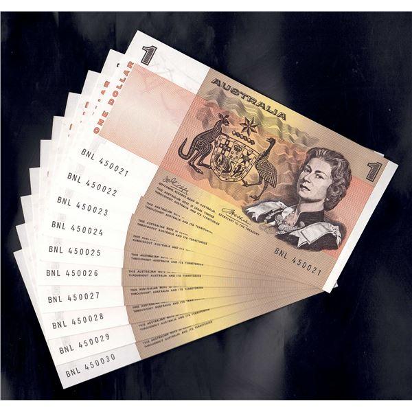 AUSTRALIA $1. 1974. Phillips-Wheeler. CONSECUTIVE RUN OF 10