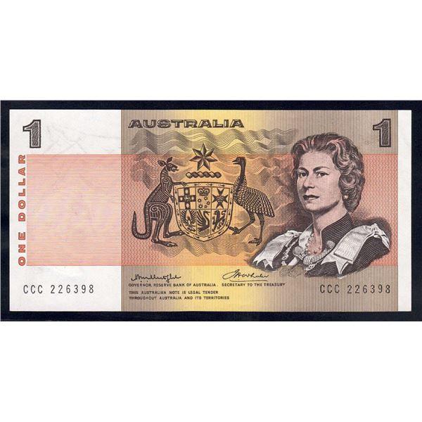 """AUSTRALIA $1. 1976. Knight-Wheeler. Centre Thread. SOLID PREFIX """"CCC"""""""