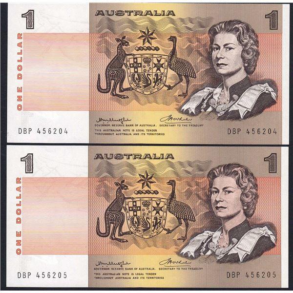 "AUSTRALIA $1. 1976. Knight-Wheeler. Prefix ""DBP"". Thick Paper. CONSECUTIVE PAIR"
