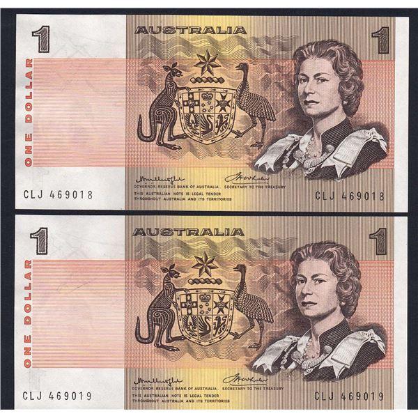 AUSTRALIA $1. 1976. Knight-Wheeler. Side Thread. CONSECUTIVE PAIR