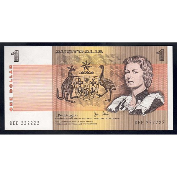 """AUSTRALIA $1. 1977. Knight-Stone. RARE SOLID SERIAL NUMBER """"222222"""""""