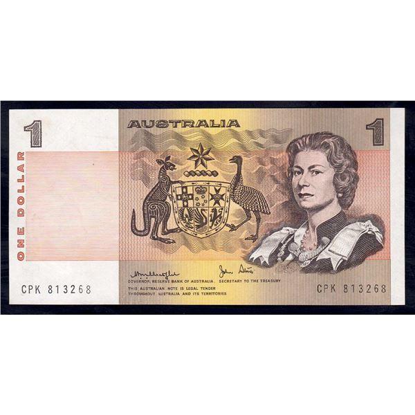 """AUSTRALIA $1. 1977. Knight-Stone. RARE 1ST PREFIX """"CPK"""""""