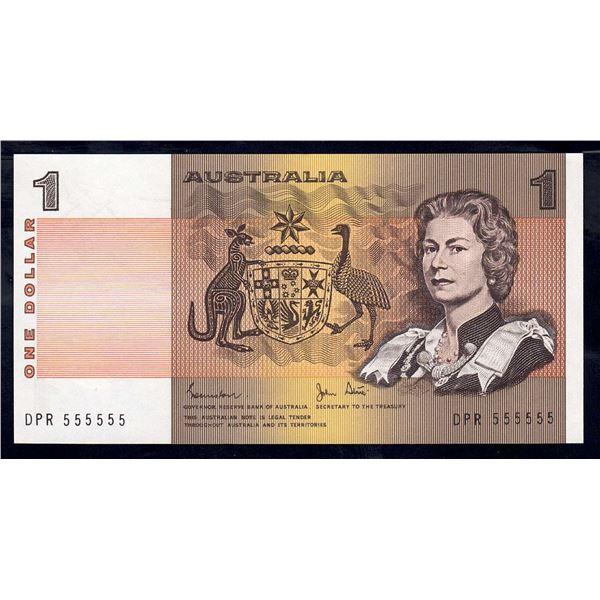 "AUSTRALIA $1. 1982. Johnston-Stone. RARE SOLID SERIAL NUMBER ""555555"""