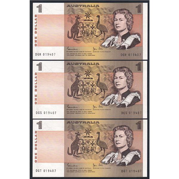 AUSTRALIA $1. 1982. Johnston-Stone. IDENTICAL SERIAL NO TRIO - Consecutive Prefixes