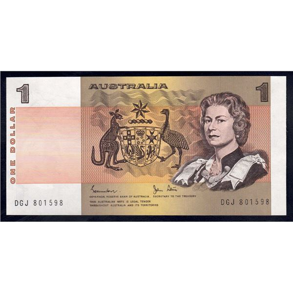"AUSTRALIA $1. 1982. Johnston-Stone. 1ST PREFIX ""DGJ"" + ERROR - ""EXTRA WIDE MARGIN"""