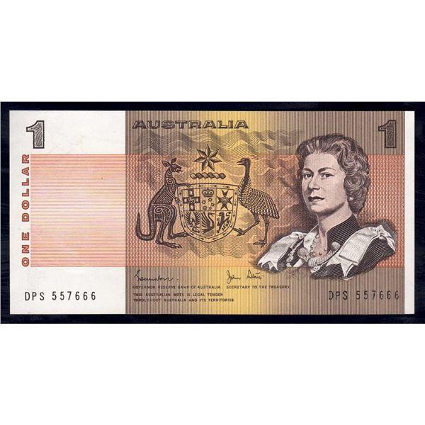 "AUSTRALIA $1. 1982. Johnston-Stone. LAST PREFIX ""DPS"" + DEVIL'S NUMBER ""666"""