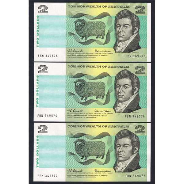 AUSTRALIA $2. 1966. Coombs-Wilson. CONSECUTIVE TRIO