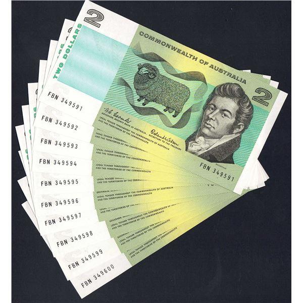 AUSTRALIA $2. 1966. Coombs-Wilson. SCARCE CONSECUTIVE RUN OF 10