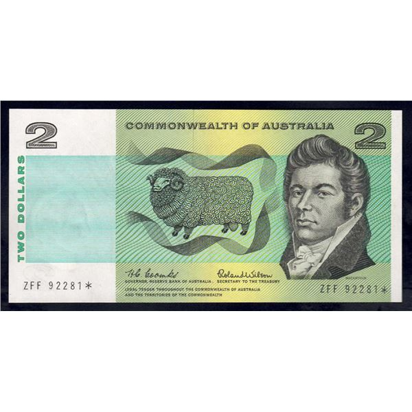 "AUSTRALIA $2. 1966. Coombs-Wilson. RARE STAR* REPLACEMENT Prefix ""ZFF"""