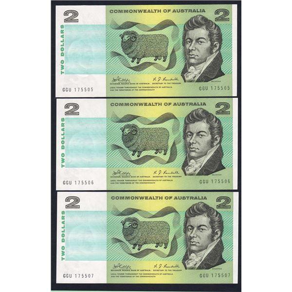 AUSTRALIA $2. 1968. Phillips-Randall. CONSECUTIVE TRIO