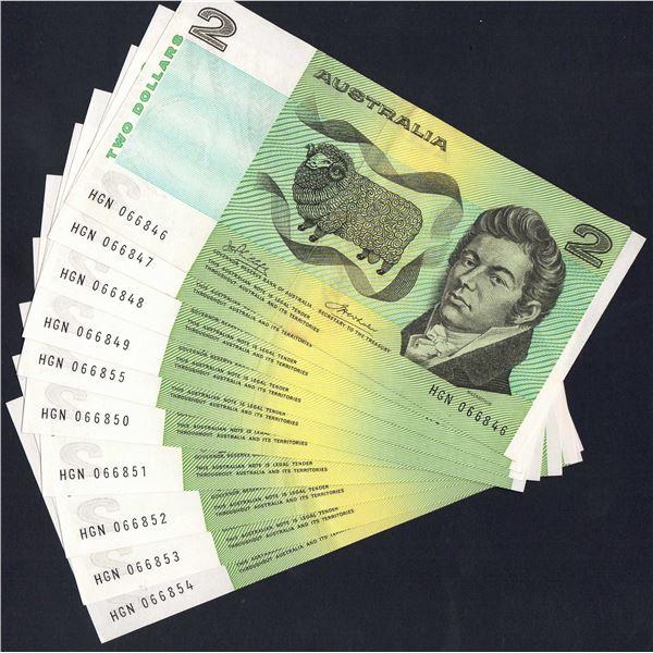 AUSTRALIA $2. 1974. Phillips-Wheeler. SCARCE CONSECUTIVE RUN OF 10