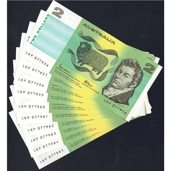 AUSTRALIA $2. 1983. Johnston-Fraser. CONSECUTIVE RUN OF 10