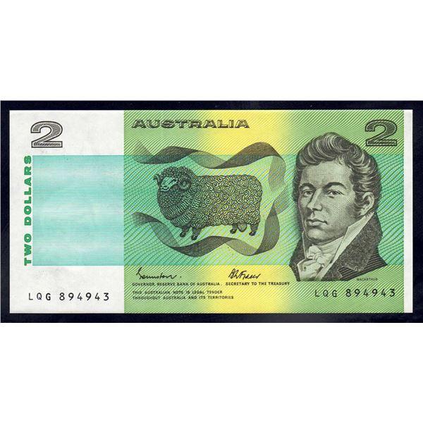 """AUSTRALIA $2. 1983. Johnston-Fraser. LAST PREFIX """"LQG"""""""