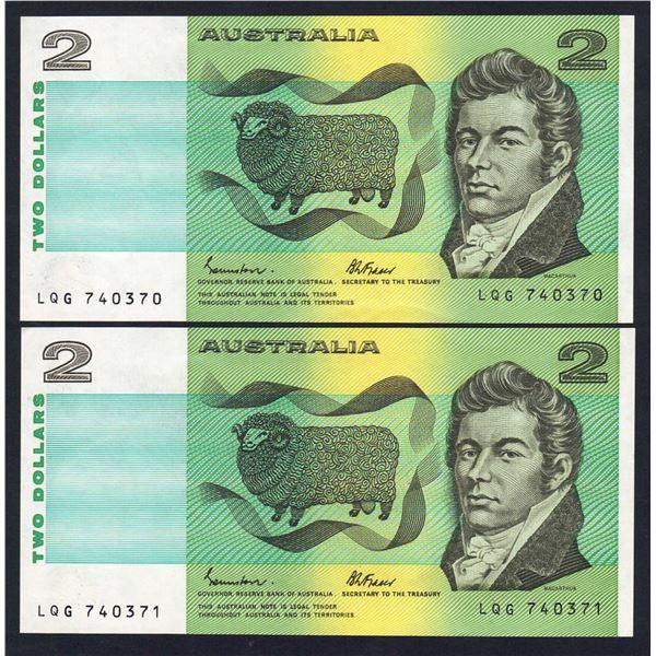 "AUSTRALIA $2. 1983. Johnston-Fraser. LAST PREFIX ""LQG"" CONSECUTIVE PAIR"