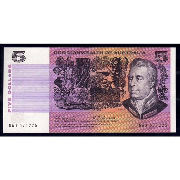 "AUSTRALIA $5. 1967. Coombs-Randall. EARLY PREFIX ""NAD"""