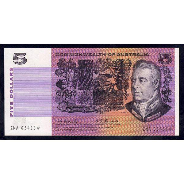 "AUSTRALIA $5. 1967. Coombs-Randall. RARE STAR* REPLACEMENT 1st Prefix ""ZNA"""