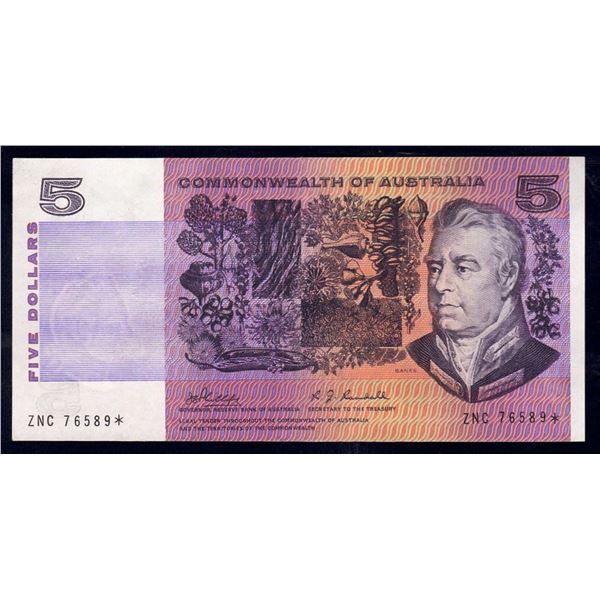 "AUSTRALIA $5. 1969. Phillips-Randall. RARE STAR* REPLACEMENT 1st Prefix ""ZNC"""