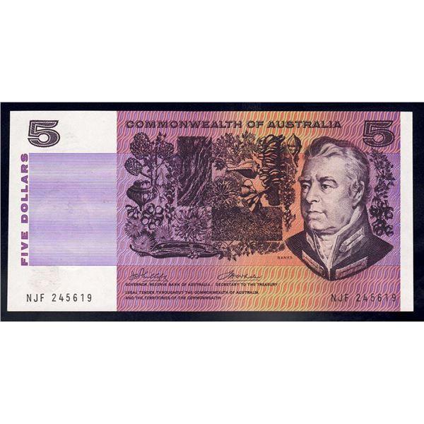 "AUSTRALIA $5. 1972. Phillips-Wheeler. LAST ""COMMONWEALTH"" TITLE"