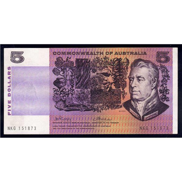 "AUSTRALIA $5. 1972. Phillips-Wheeler. RARE LAST PREFIX ""NKG"""