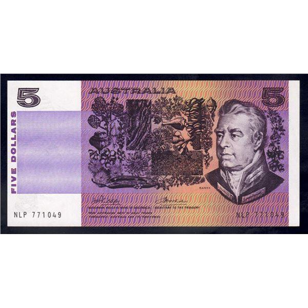 "AUSTRALIA $5. 1974. Phillips-Wheeler. SCARCE WORD PREFIX ""NLP"""