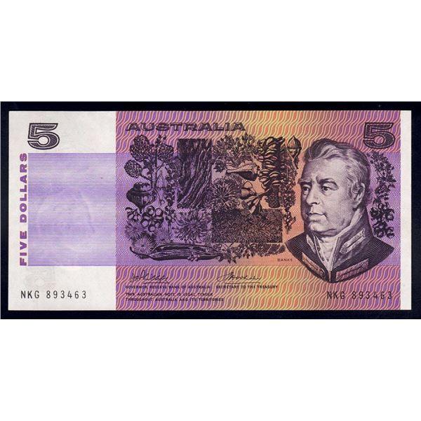 "AUSTRALIA $5. 1974. Phillips-Wheeler. RARE 1ST PREFIX ""NKG"""