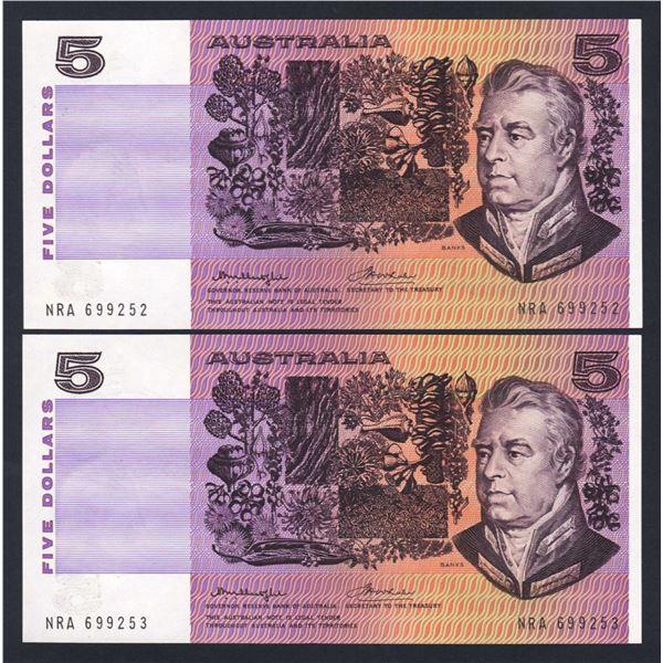 "AUSTRALIA $5. 1976. Knight-Wheeler. Gothic/Centre Thread. WORD PREFIX ""NRA"" PAIR"