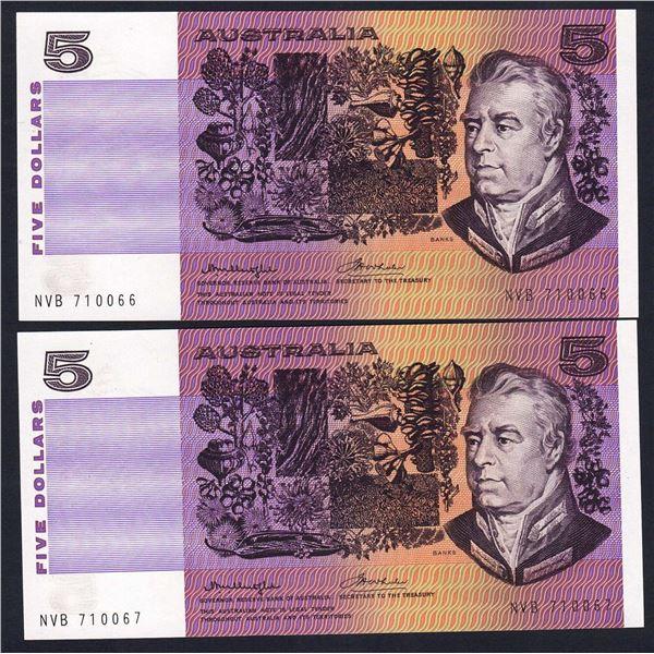 AUSTRALIA $5. 1976. Knight-Wheeler. Gothic/Side Thread. CONSECUTIVE PAIR
