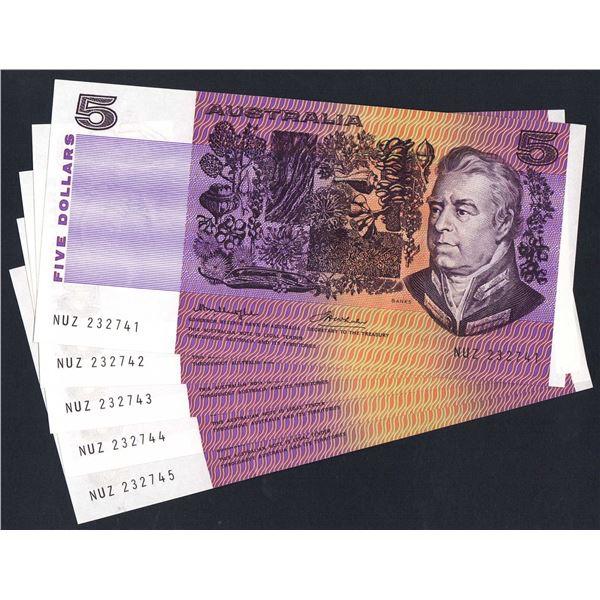 AUSTRALIA $5. 1976. Knight-Wheeler. Gothic/Side Thread. CONSECUTIVE RUN OF 5