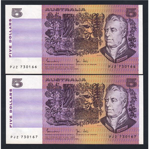 AUSTRALIA $5. 1983. Johnstone-Stone. CONSECUTIVE PAIR