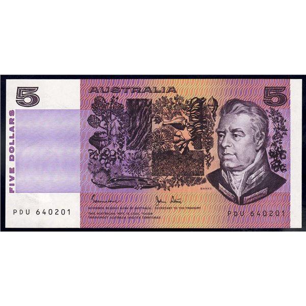 """AUSTRALIA $5. 1983. Johnstone-Stone. RARE 1ST PREFIX """"PDU"""""""