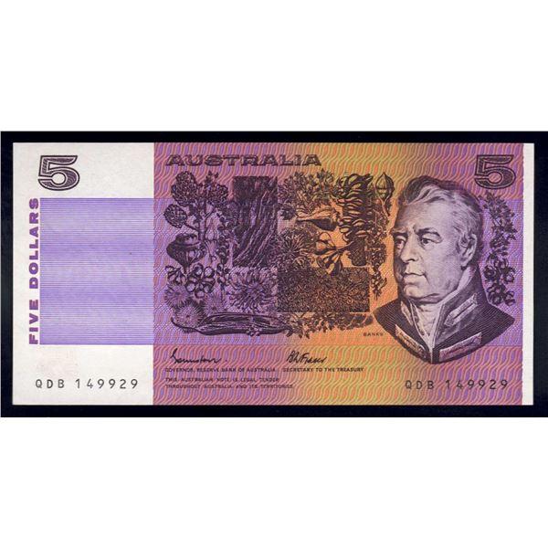 AUSTRALIA $5. 1985. Johnstone-Fraser. OCRB SERIAL