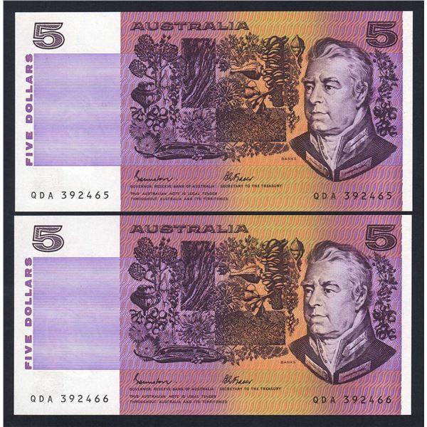 AUSTRALIA $5. 1985. Johnstone-Fraser. OCRB Serial. CONSECUTIVE PAIR
