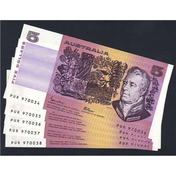 AUSTRALIA $5. 1985. Johnstone-Fraser. OCRB Serial. CONSECUTIVE RUN OF 5