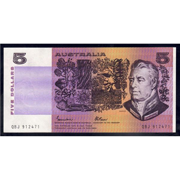 "AUSTRALIA $5. 1985. Johnstone-Fraser. Gothic Serial. SCARCE LAST PREFIX ""QBJ"""