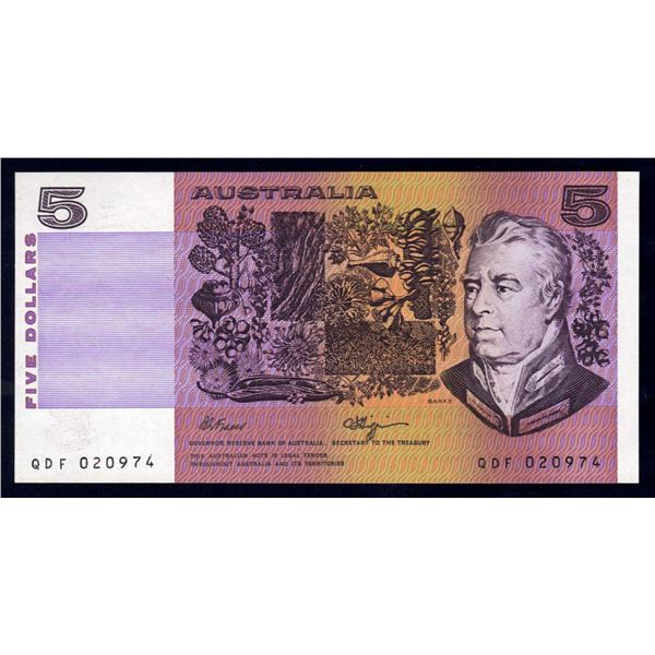 "AUSTRALIA $5. 1990. Fraser-Higgins. RARE 1ST PREFIX ""QDF"" (Ex Circulation)"