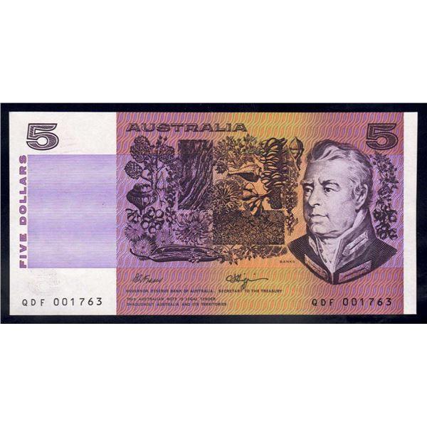 "AUSTRALIA $5. 1990. Fraser-Higgins. SCARCE 1ST PREFIX ""QDF"" (Ex Uncut Block)"