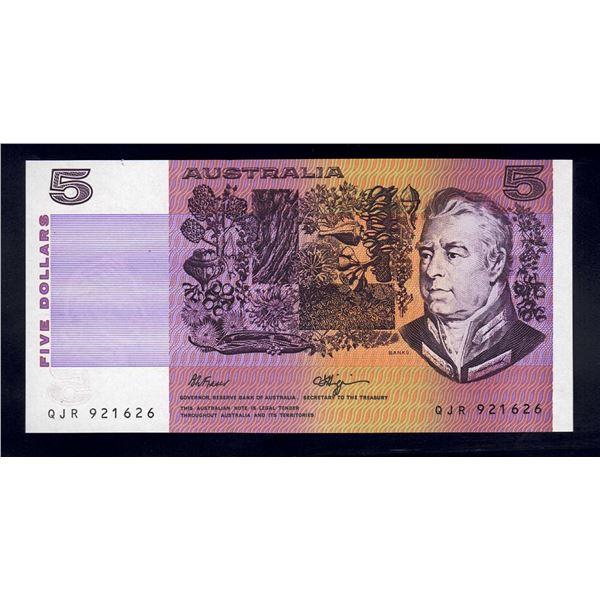 "AUSTRALIA $5. 1990. Fraser-Higgins. SCARCE LAST PREFIX ""QJR"""