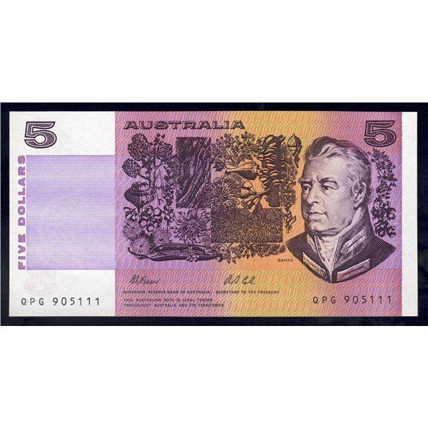 "AUSTRALIA $5. 1991. Fraser-Cole. LAST PREFIX ""QPG"" + LUCKY SERIAL NUMBER ""111"""