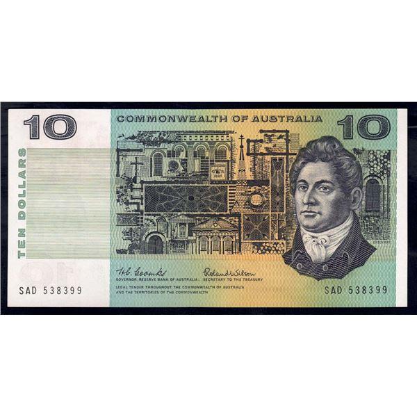 "AUSTRALIA $10. 1966. Coombs-Wilson. EARLY + WORD PREFIX ""SAD"""