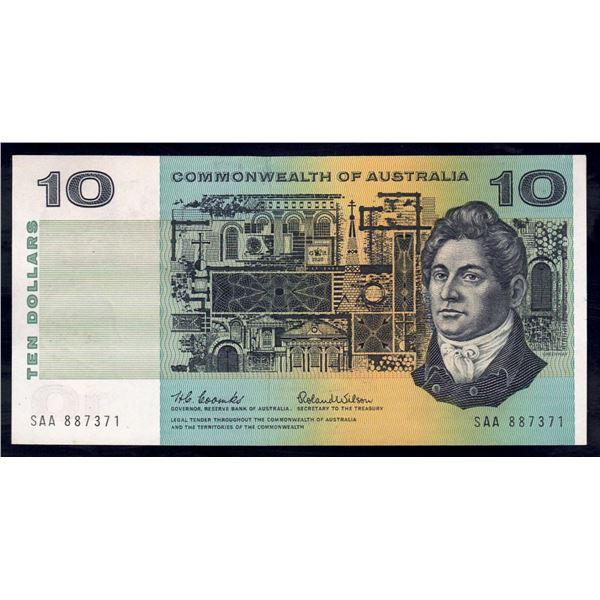 "AUSTRALIA $10. 1966. Coombs-Wilson. SCARCE 1ST PREFIX ""SAA"""
