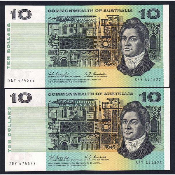AUSTRALIA $10. 1967. Coombs-Randall. CONSECUTIVE PAIR